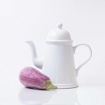 White with Aubergine