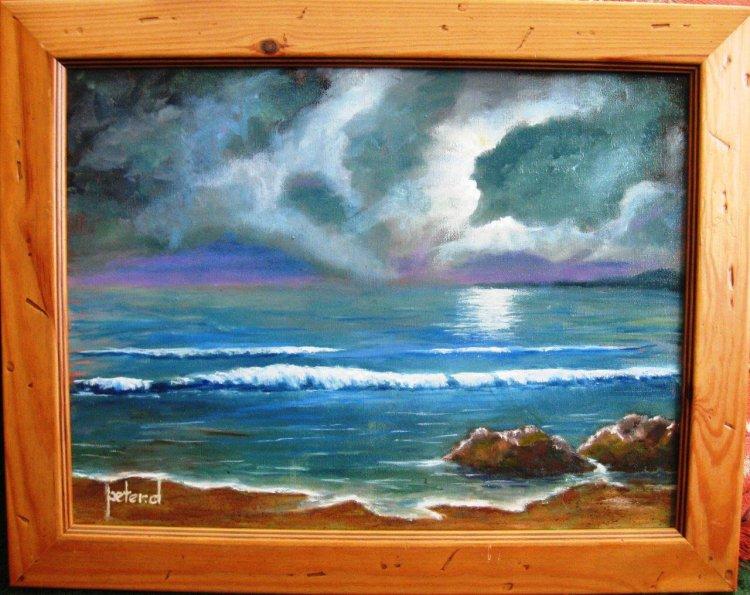 Moonlit rocky beach