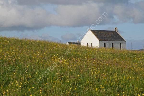 Machair and church, Howmore,  South Uist