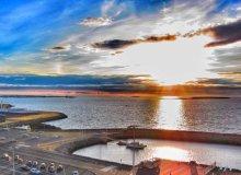Sunset over Rekyjavik harbour