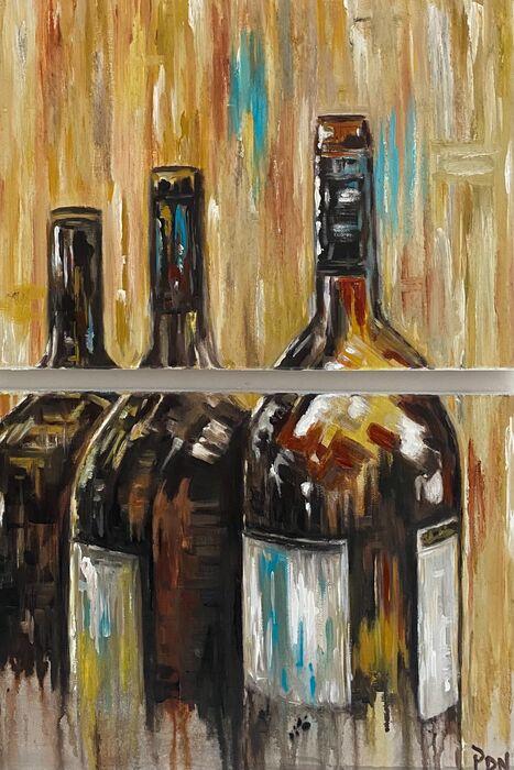 Wine bottles diptych