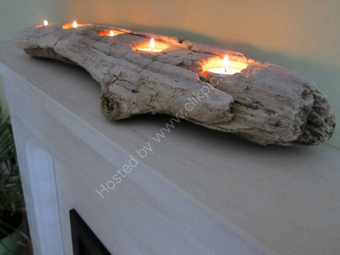 Large driftwood bark tea light holder