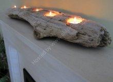 Large driftwood bark tea light holder