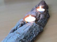 Small driftwood bark tea light holder
