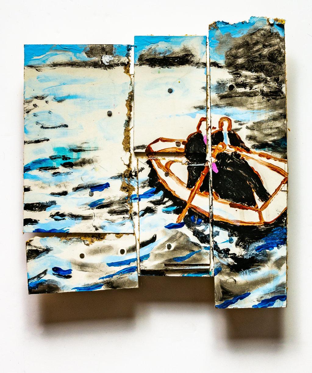 Boris in a Boat (Hardboard Scraps) 2018