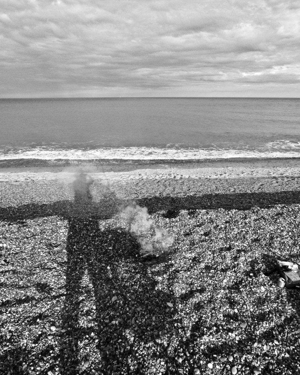 Self Portrait, Smoking Fire, Dunwich Beach, Suffolk 2017