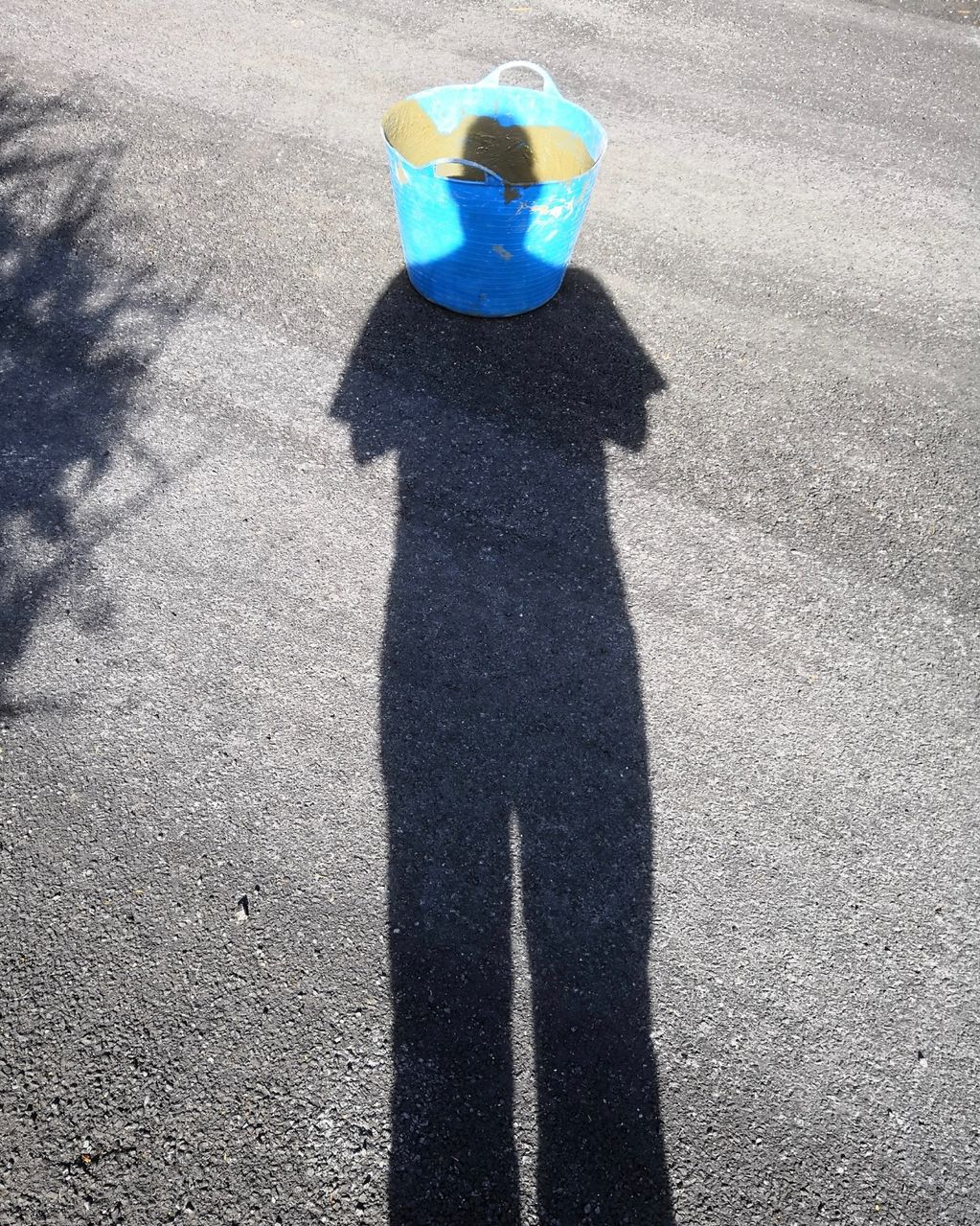 Self Portrait with Blue Bucket Filled with Concrete 2018