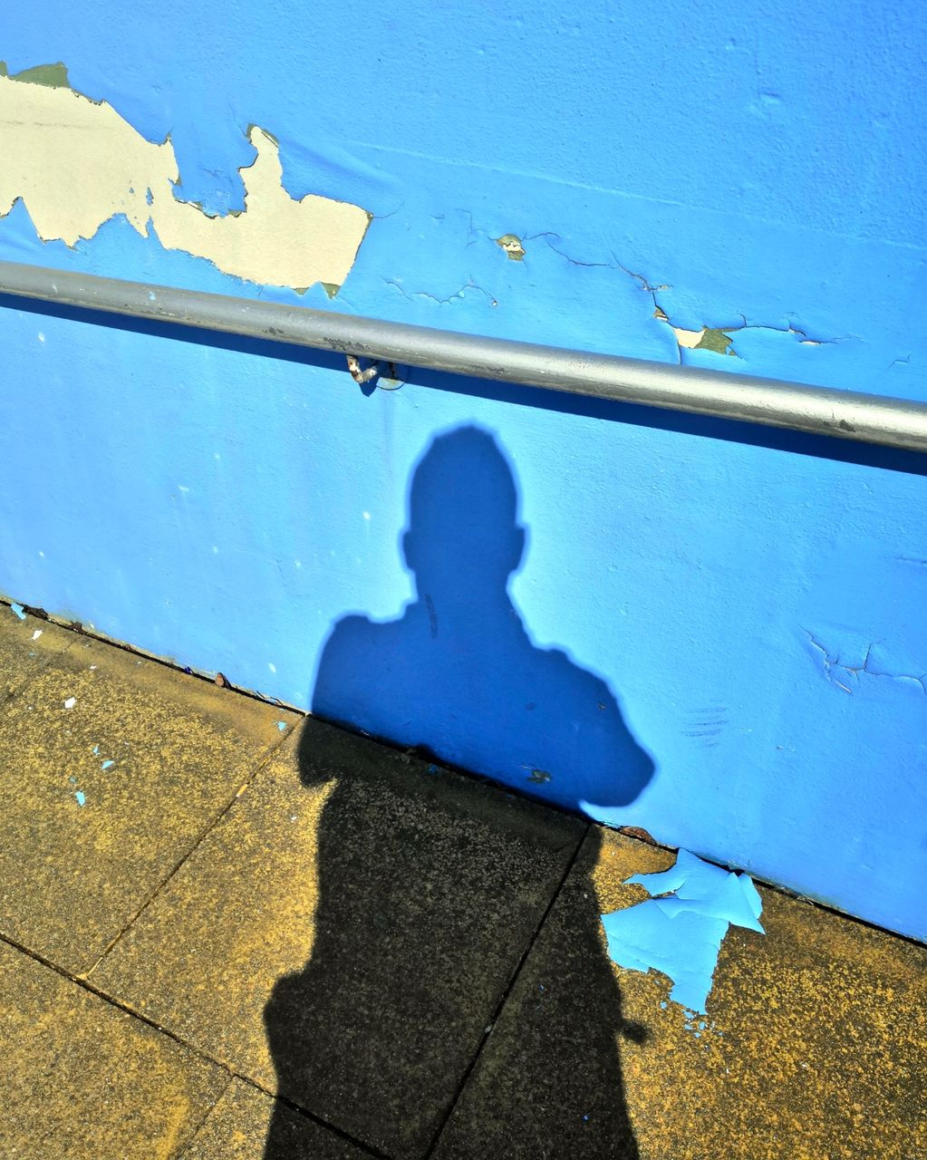 Self Portrait on Underpass Blue and Ochre 2019