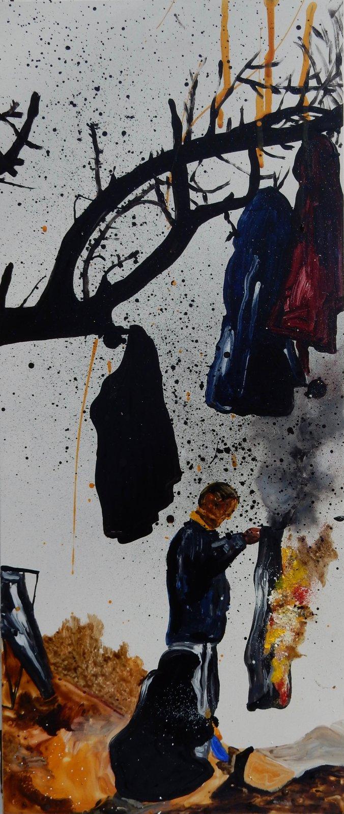 Man Burning his Trousers to Make a Bonfire (Greek/Macedonian Border) 2106