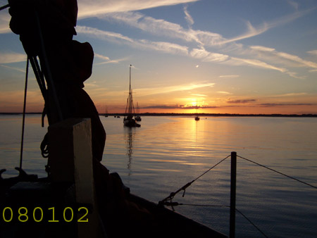 Sunset from sailing barg.Reminder