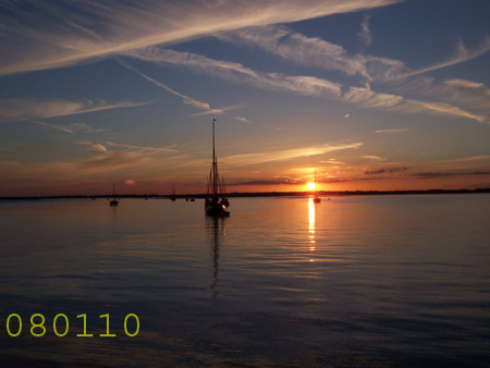 Sunset from Thames sailing barge