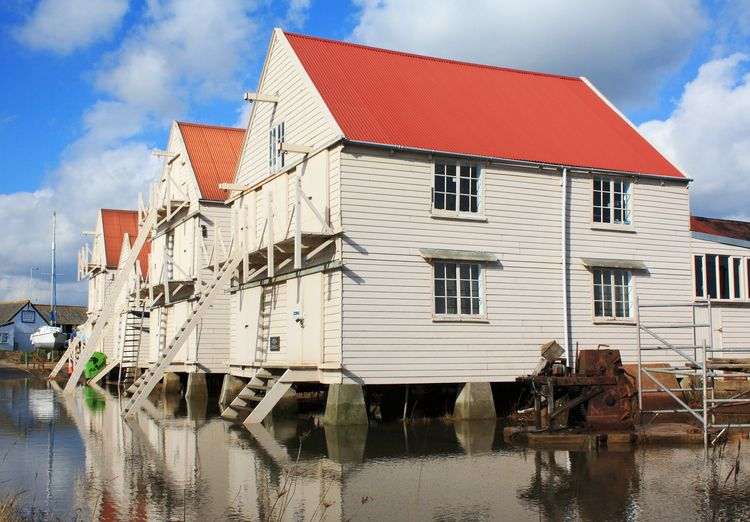 Tollesbury sail lofts at high tide.