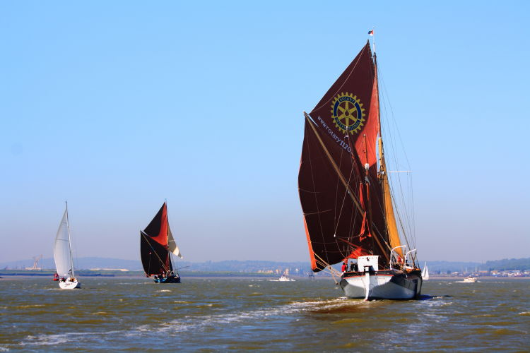 Sailing barge Cambra from astern