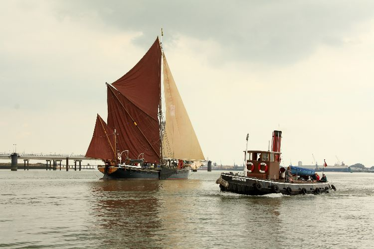 Sailing barge Marjorie and steam tug on the Medway