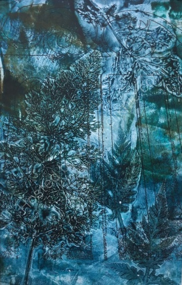 Mono print created by using materials found in the Garden at Parham House - SOLD