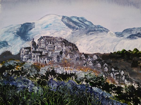 Striling Castle  and Ochil  Hills by Ann McGeachie