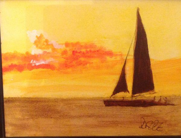 Sailing ship off Naples BY Dave Atkins