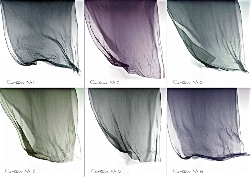 Six Wind Blown Chiffon Curtains