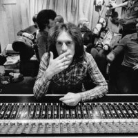 John Leckie with XTC in the background at Virgin Manor Studios
