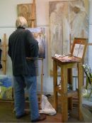 Painter in gallery