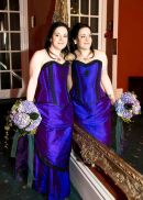 Victorian bride in the mirror in electric blue