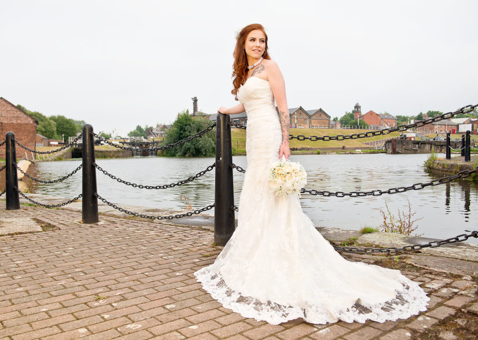 by the canal bridal portrait
