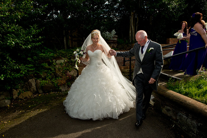 Father Leads Bride Up The Churchyard Path Richard Linnett Photography