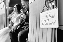 Just married and relaxing.