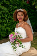 Summer garden portrait of a stunning bride