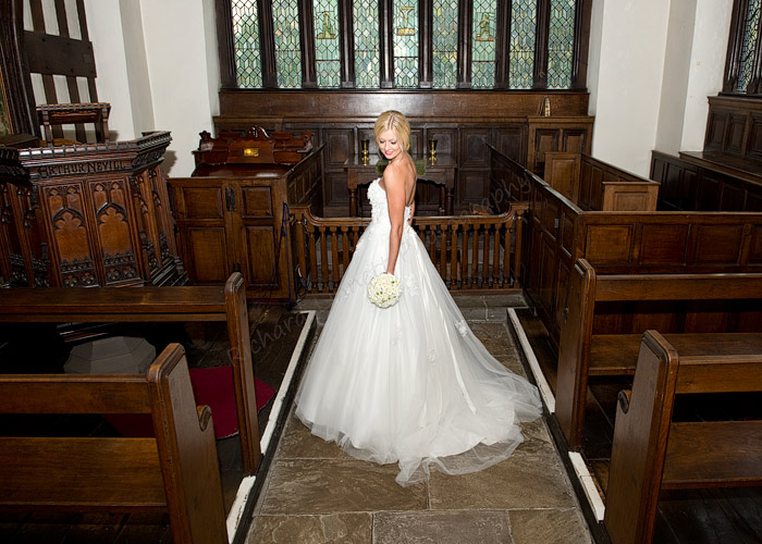 Bride alone in the chapel at Bramhall Hall 264