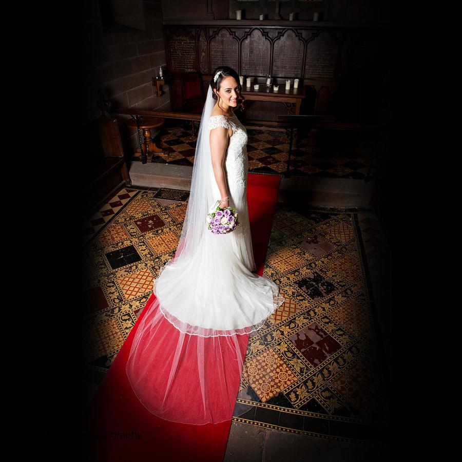 Beautiful bride in Chapel - Peckforton Castle