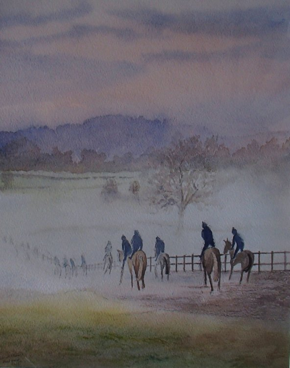 David Pipe's gallops misty morning