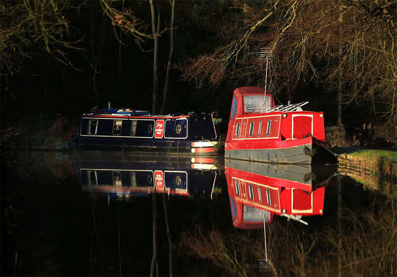 Narrowboat reflection