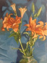 Lilies with blue background
