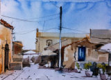 Plien air watercolour Marzamemi, Sicily