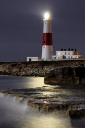 Portland Bill lighthouse by moonlight