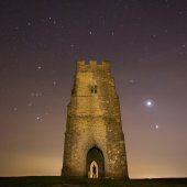 Orion, Venus and Jupiter over Glastonbury Tor