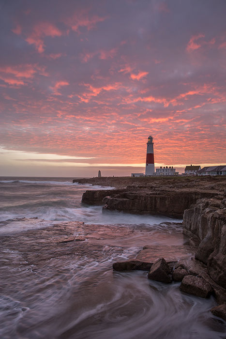 Winter solstice sunset, Portland lighthouse