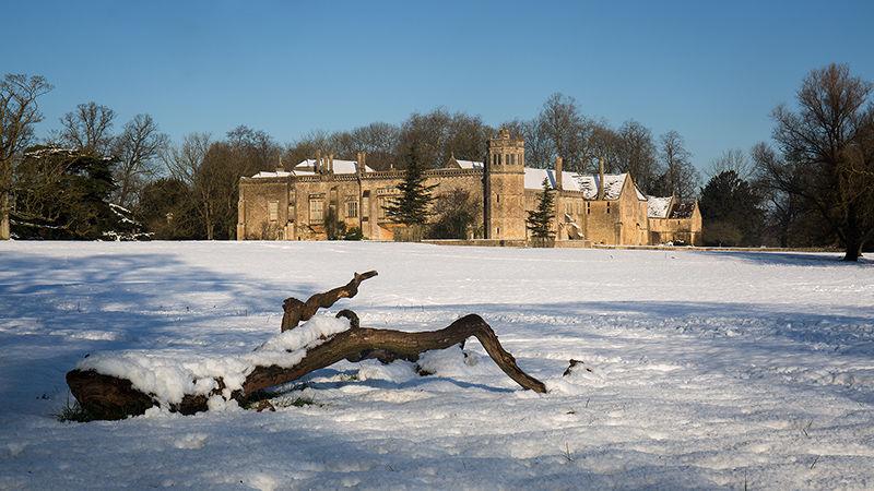 Lacock Abbey in snow