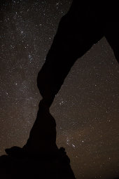 Delicate arch and night sky