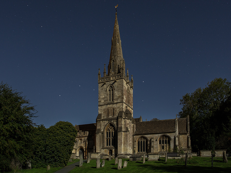 Corsham Church by moonlight