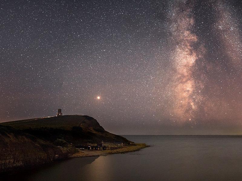 Milky Way and Mars over Kimmeridge Bay