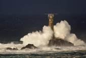 Longships Lighthouse in storm, Cornwall