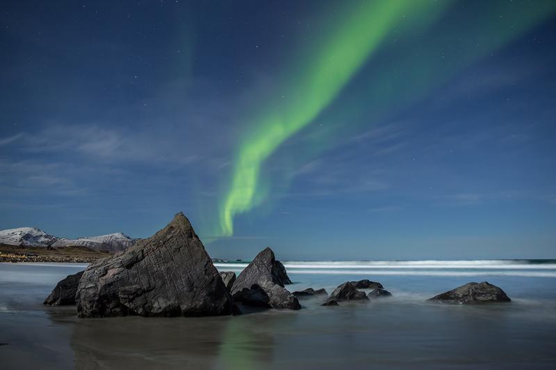 Aurora borealis, Skagsanden Beach