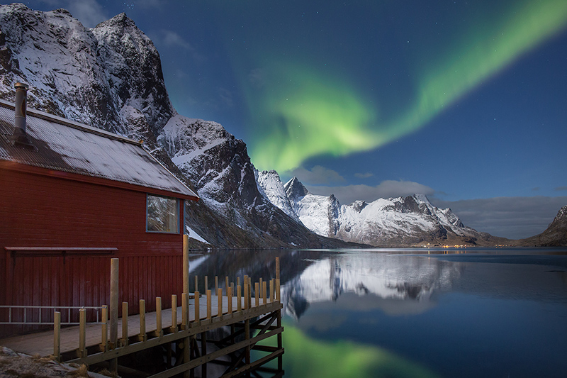 Aurora borealis over Kjerk Fjord