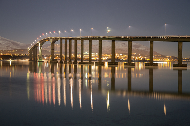 Sandnessund Bridge by moonlight
