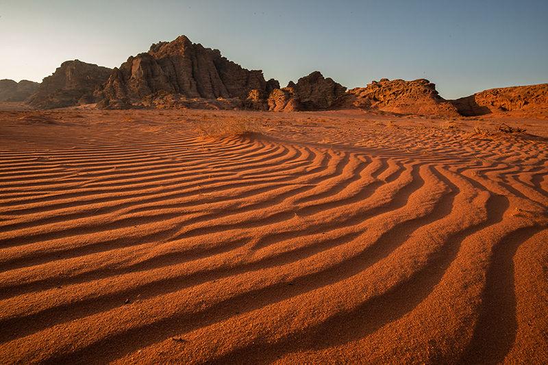 Sand ripples at sunrise, Wadi Rum