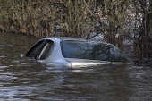 Flooded car, Muchelney