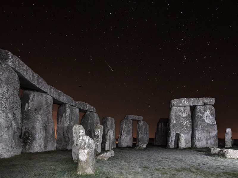 Geminid Meteor over Stonehenge