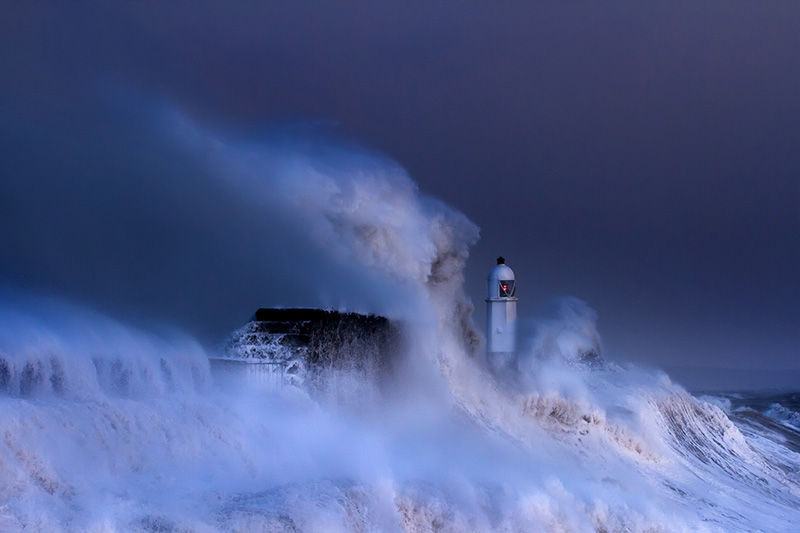 Porthcawl in storm